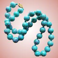 Handpainted Grapes Ceramic Beads Vintage Necklace