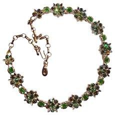 Fabulous LISNER Signed Vintage GREEN RHINESTONE Necklace