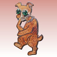 Art Deco Era Enamel Dog Brooch