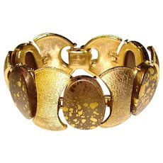 Awesome CORO Signed Gold Flecked Thermoset Stones Bracelet