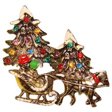 Awesome CHRISTMAS Tree One Horse Open Sleigh Rhinestone Brooch