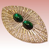 Fabulous ART DECO Huge Green Glass & Rhinestone Brooch