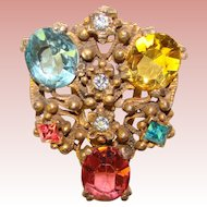 Gorgeous DECO Era Colored Rhinestone Dress Clip Brooch