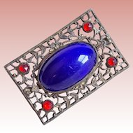 Art Deco to Edwardian Era Cobalt Blue & Red Stones Filigree Brooch