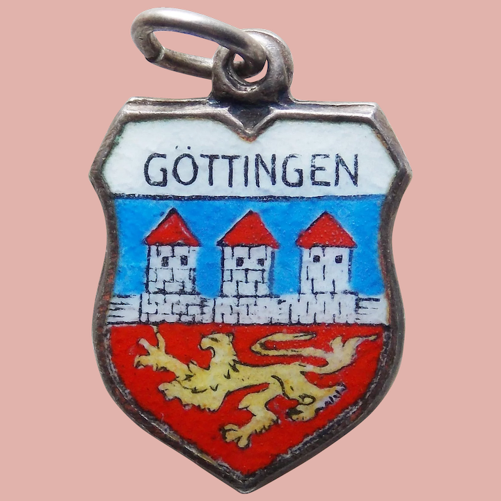 Berchtesgaden Germany Charm Sterling 800 REU Silver Enamel Shield Charm Deutschland Souvenir Red and Blue Coat of Arms charm