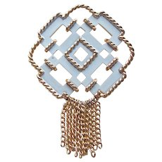 Awesome White Enamel & Chain Dangle Fringe Vintage Brooch - Signed Avon