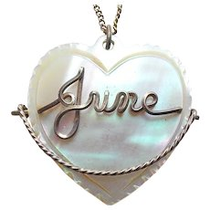 Gorgeous JUNE Carved Mother of Pearl Heart Vintage Pendant Necklace