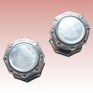 Art Deco Mother of Pearl Snap Cufflinks - 1920s to 1930s