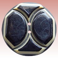 """Art Deco Carved Celluloid Vintage Button - Laminated Layers 1 1/16"""""""
