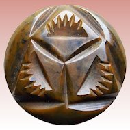 """Awesome Carved Bakelite Brown Vintage Button - 1 1/16"""""""