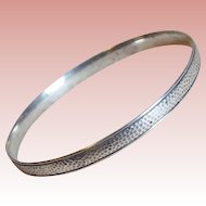 Gorgeous STERLING SILVER Vintage Hammered Patterned Bangle Bracelet