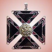Awesome Maltese Cross Enamel Vintage Pendant