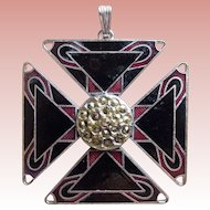 Awesome Maltese Cross Enamel Vintage Pendant