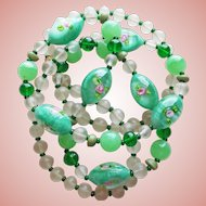 Gorgeous Green Art Glass Beads Vintage Necklace - Flower Designs in Glass