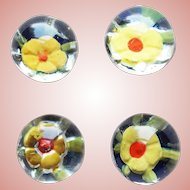Antique Paperweight Glass Buttons - Yellow Flowers