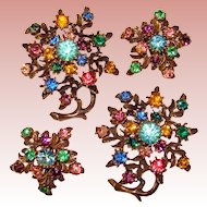 Fabulous PAIR of Colorful Vintage Rhinestone Brooches with Matching Clip Earrings