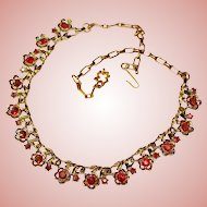 Gorgeous RED AURORA Rhinestone Vintage Necklace