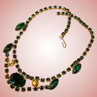 Fabulous GREEN Rhinestone Vintage Necklace
