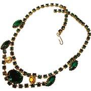 Fabulous GREEN Rhinestone Vintage Necklace
