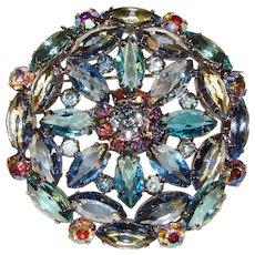 Fabulous AQUA & SKY BLUE Navette Rhinestone Vintage Brooch