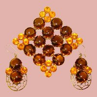 Fabulous AMBER & TOPAZ Glass Stones Vintage Brooch Set