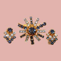 Gorgeous AUSTRIA Signed Blue Rhinestone Brooch & Clip Earrings Set