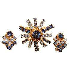 Gorgeous AUSTRIA Signed Blue Rhinestone Brooch & Clip Earrings Set