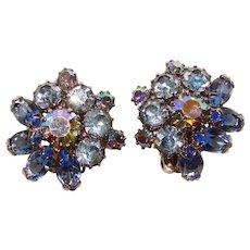 Fabulous WEISS Signed Blue Rhinestone Vintage Clip Earrings