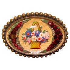 Fabulous Antique Flower Basket Goofus Glass Brooch