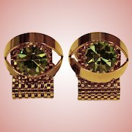 Awesome Vintage GREEN Rhinestone Wrap CUFFLINKS