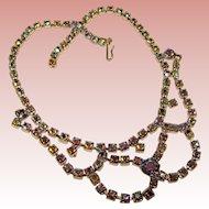 Gorgeous BLUE AURORA Vintage Rhinestone Necklace