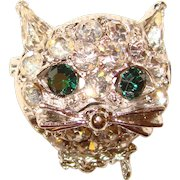 Cute Vintage Rhinestone CAT FACE Brooch