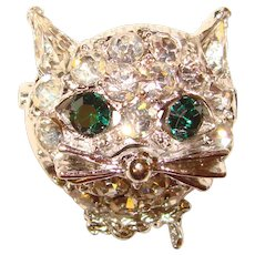 Cute Vintage Rhinestone CAT FACE Brooch