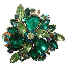 Fabulous PEACOCK BLUE Aurora & Green Rhinestone Vintage Brooch