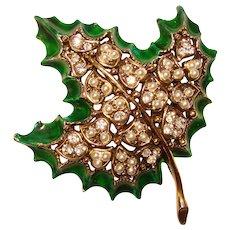 Fabulous HOLLYCRAFT Signed Rhinestone & Pearl Enameled Leaf Vintage Brooch