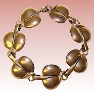 Fabulous Sterling LEAF Design Links Vintage Bracelet