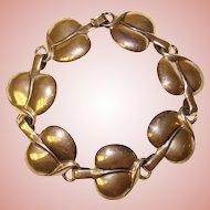 Fabulous Sterling LEAF Design Links Vintage Bracelet