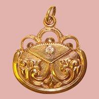 Fabulous Victorian Ornate Glass Stone FOB Pendant