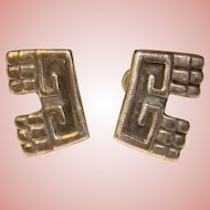 Gorgeous MEXICAN STERLING Patterned Vintage Earrings