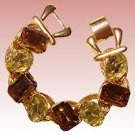 Fabulous Light Yellow & Brown Glass Stones Chunky Design Bracelet