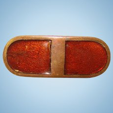 Small Antique BROWN ENAMEL Mini Brooch - For Doll or Lapel