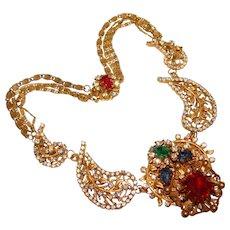 Fabulous AMOURELLE Signed MOGHUL Jeweled Rhinestone Necklace