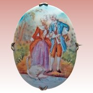 Gorgeous Victorian LOVERS WITH SWAN Antique Porcelain Brooch