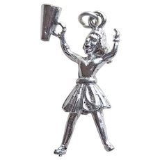 Awesome Cheerleader Sterling Vintage Charm