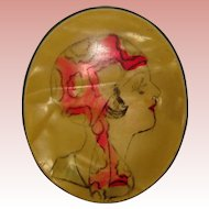 Fabulous 1920's FLAPPER Design Celluloid Brooch