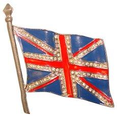 Fabulous 1940's UNION JACK Enamel & Rhinestone Flag Brooch