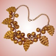 Fabulous Brass Gold Dangle Cluster & Leaf Drops Estate Necklace