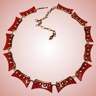 Fabulous Modernist RED ENAMEL Copper Necklace
