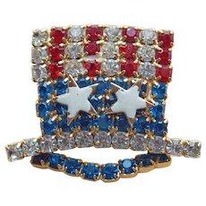 Patriotic UNCLE SAM HAT Rhinestone Vintage Brooch - Red White & Blue