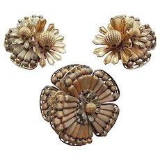 Fabulous MIRIAM HASKELL Signed Vintage Brooch Set - Asymmetrical Flower Design